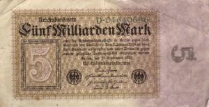 Billet de 5 milliards de Marks en 1923